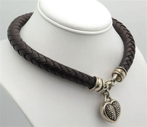 sterling silver leather necklace barry kieselstein cord bkc sterling silver braided