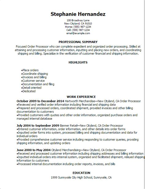 Resume Order professional order processor resume templates to showcase