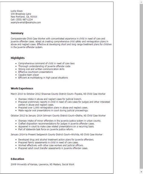 Caseworker Resume by Professional Child Worker Templates To Showcase Your Talent Myperfectresume
