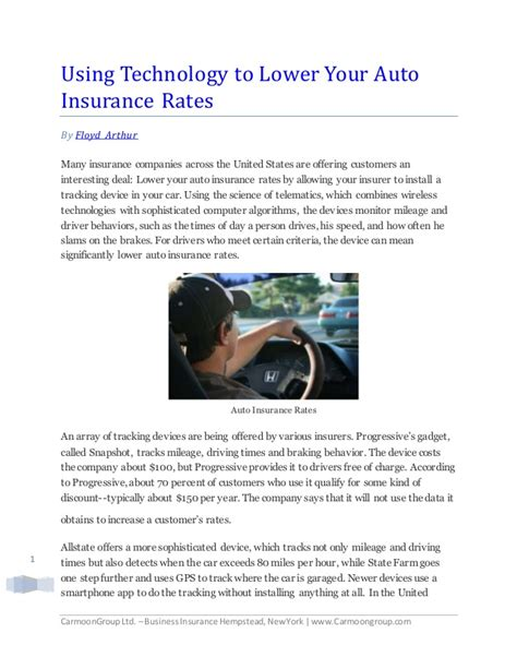 Using Technology to Lower Your Auto Insurance Rates By