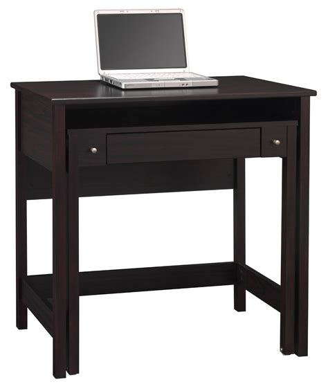 black solid wood computer desk for small spaces with