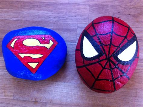 Easy Rock Painting Superman And Spiderman Superhero
