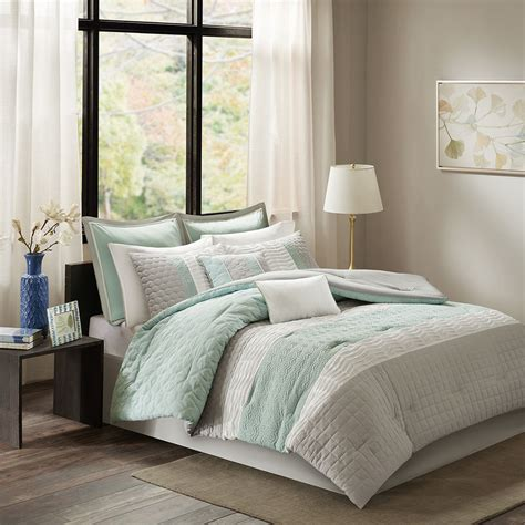 soft grey comforter beautiful modern chic blue aqua grey ivory white soft