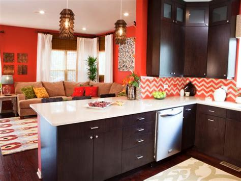 living room and kitchen color ideas orange living room kitchen with chevron backsplash hgtv