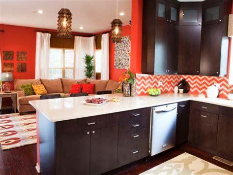 paint ideas for living room and kitchen orange living room kitchen with chevron backsplash hgtv