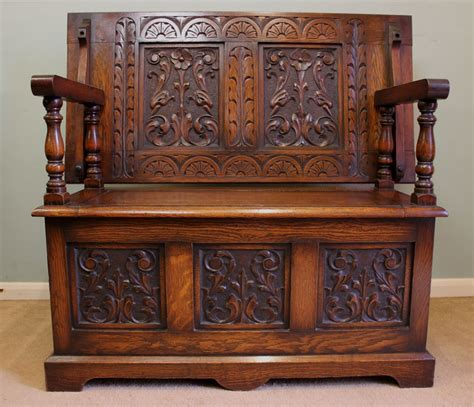 monks bench settle antique oak box settle monks bench hall seat 276754