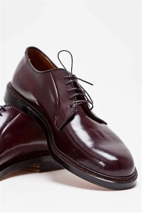 the alden cordovan plain toe blucher in burgundy soletopia