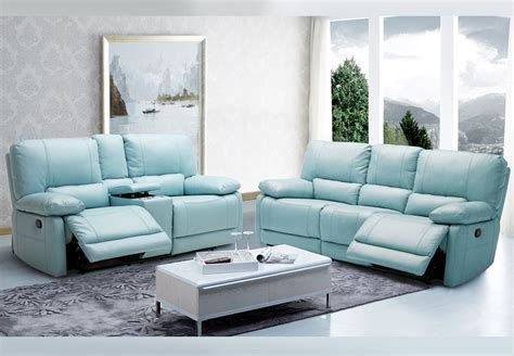 Light Blue Leather Sofa by Kuka Sand Power Recliner Leather Match