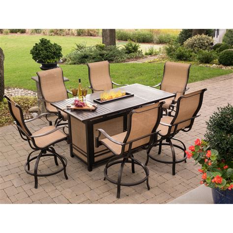 Outdoor Pit Sets Monaco 7 High Dining Bar Set With 30 000 Btu