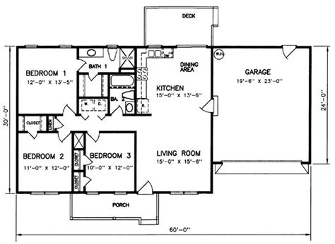 ranch style bungalow floor plans style house plans 1200 square foot home 1 story 3 bedroom and 2 bath 2 garage stalls by