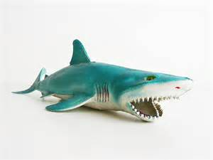 Blue White China Vase Vintage Shark Rubber Toy Shark Great White By