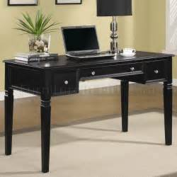 Desk Office Home Rich Black Finish Modern Home Office Desk W Nickel Hardware