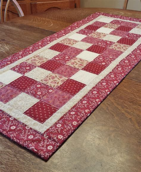 Patchwork Table Runner - quilted table runner country table runner patchwork runner