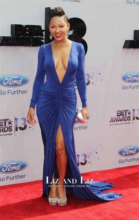 Meagan Good Royal Blue Long Sleeve V Neck Celebrity Dress