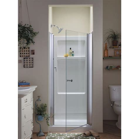 Sterling Pivot Shower Door Installation Sterling Finesse 30 1 4 In X 65 1 2 In Semi Frameless Pivot Shower Door In Silver 6305 30s