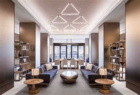 lenox apartment lobbys impressive triangular lighting design