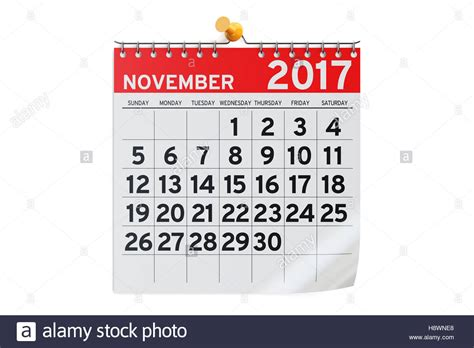 Calendar November 2017 Image November 2017 Calendar 3d Rendering Isolated On White