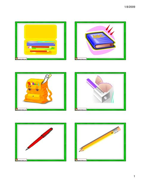 school supplies flash cards small - Gift Card Supply