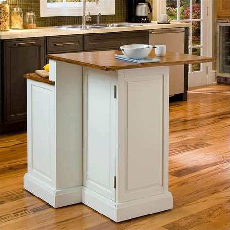 two tier kitchen island in white and oak 5010 94