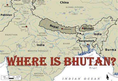 where is bhutan on a world map kingdom of bhutan map