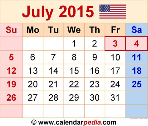 Calendar Of July 2015 July 2015 Calendars For Word Excel Pdf
