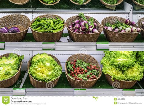 What Is The Shelf Of Vegetable by Fruits And Vegetables On A Supermarket Shelf Stock Photo Image 42048288