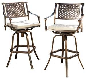 Outdoor Swivel Bar Stool Outdoor Cast Aluminum Swivel Bar Stool W Cushion Set Of 2 Contemporary Outdoor Bar