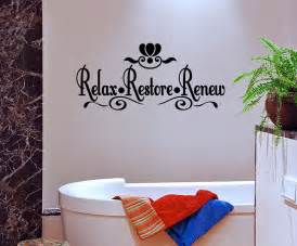 Bathroom Wall Decor Stickers relax restore renew vinyl wall quote mural decal bathroom