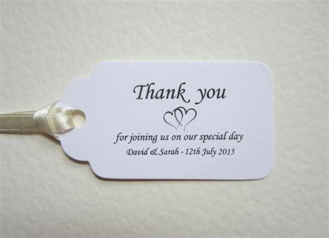Thank You Letter Wedding Guest personalised wedding thank you place cards white tags