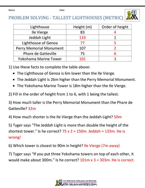 Integer Word Problems Worksheet by Math Word Problems For
