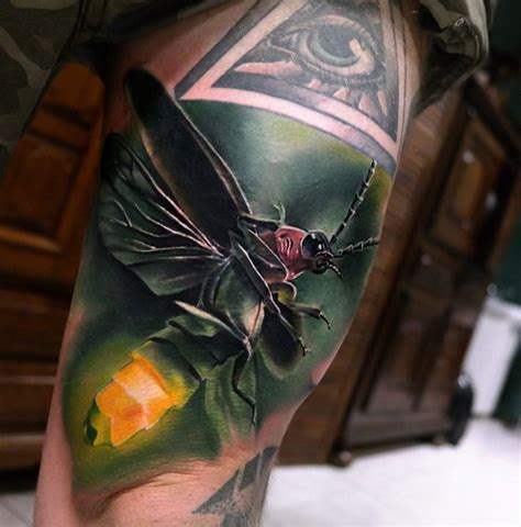 realistic firefly thigh piece best tattoo design ideas