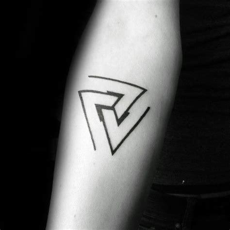 guy getting triangle tattoo on forearm ideas tattoo minimal triangles mens forearm tattoos tattoo ideas