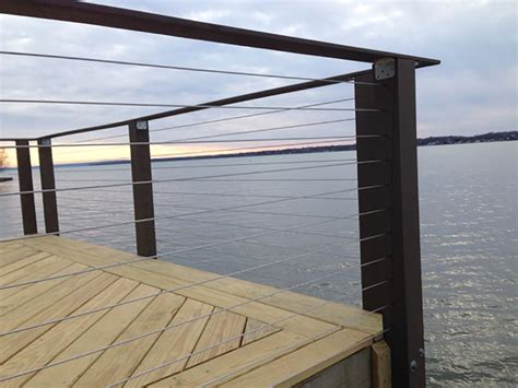 boat dock steel cable lake house in cayuga ny has a new deck and cable railing
