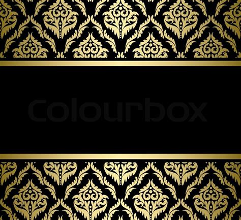 Vintage Home Design Plans by Black Bright Card With Gold Pattern Vector Stock