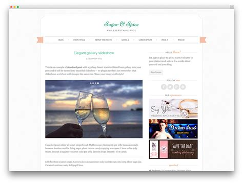 wordpress themes free food blog 8 beautiful and free wedding wordpress themes beau magazine