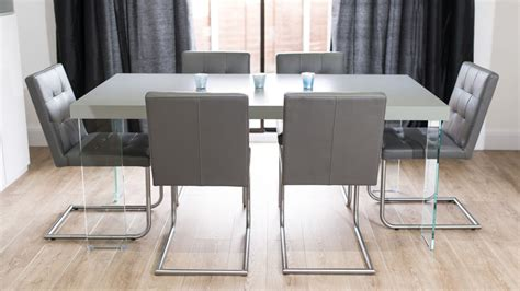 Dining Table With Grey Chairs Grey Oak Dining Table With Glass Legs Real Leather Quilted Dining Chairs