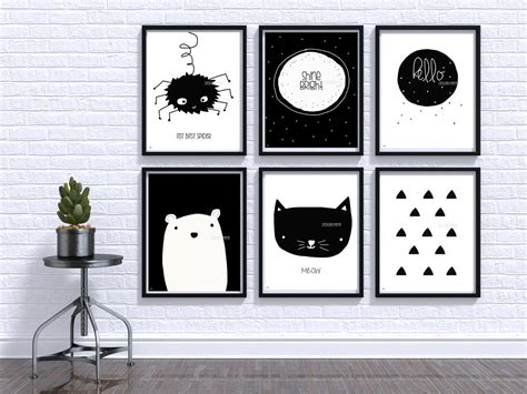Black And White Baby Print Nursery Wall Art Baby Room Decor Black And White Nursery Decor
