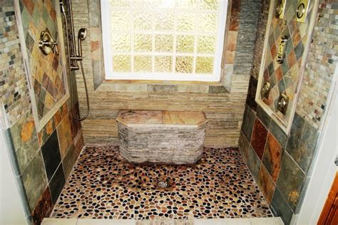 river rock shower traditional bathroom boston by slate river rock bathroom