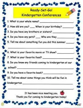 ready set go kindergarten conference student survey by njf