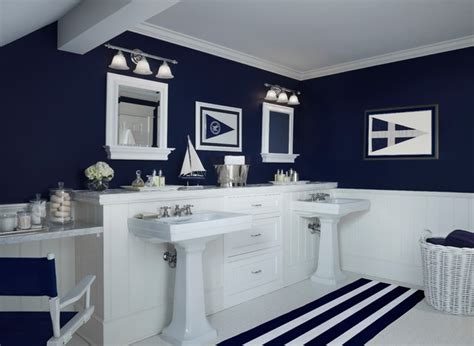 Navy Blue And White Bathroom » Home Design 2017