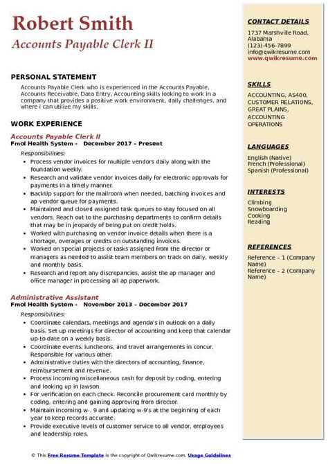 Accounts Payable Resume Pdf by Accounts Payable Clerk Resume Sles Qwikresume