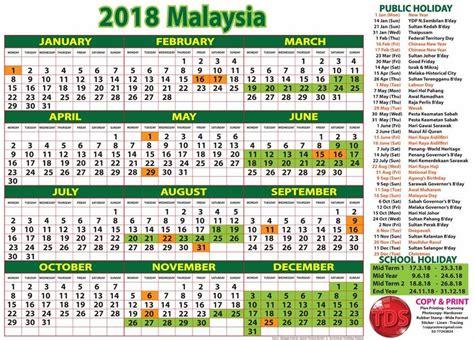 Kalendar 2018 Cuti Penggal Kalendar Cuti Umum 2018 Malaysia Holidays