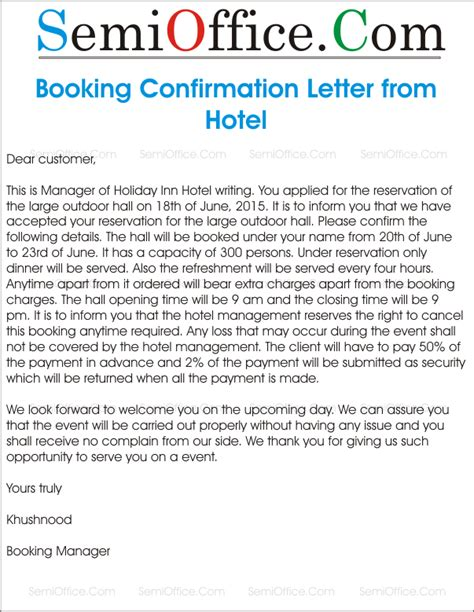cancellation hotel booking letter sle confirm letter for hotel booking gallery cv