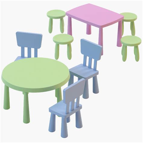 Table And Chairs Mammut by Mammut Chair Tables 3d Model