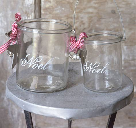 glass etched christmas candle holder by letteroom