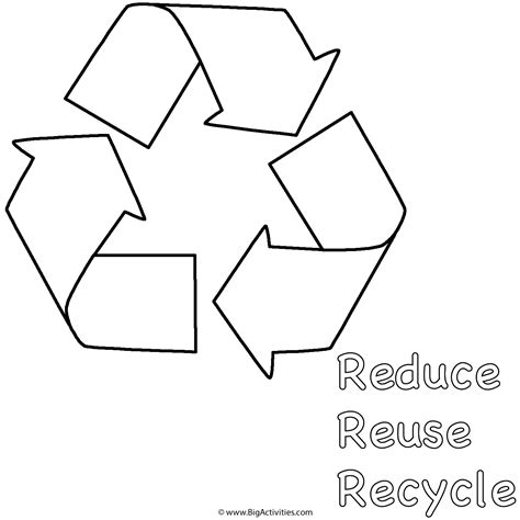 reduce reuse recycle below symbol coloring page earth