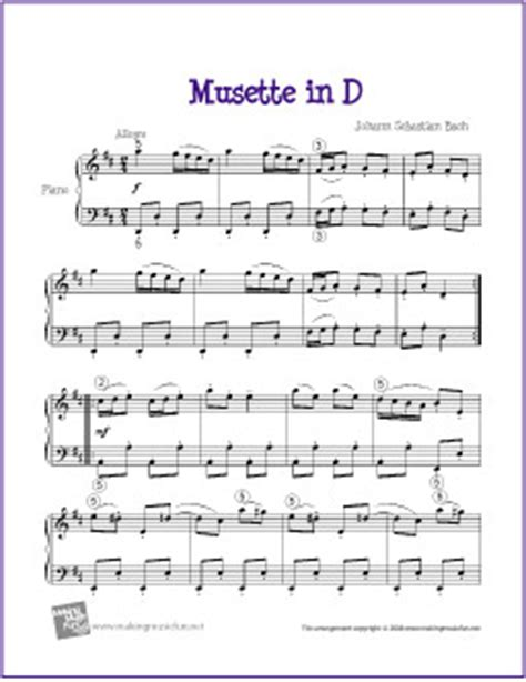 free printable piano sheet music intermediate musette in d bach free easy piano sheet music