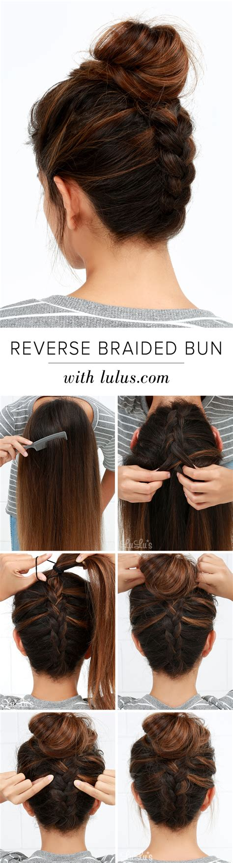 put your hair in a bun with braids lulus how to reverse braided bun hair tutorial lulus