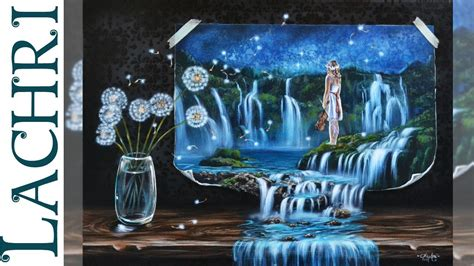 paint with a twist the falls surreal waterfall landscape in acrylic lachri speed