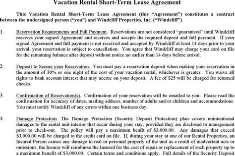 vacation rental agreement exle rent and lease template free premium